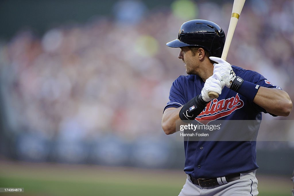 Lonnie Chisenhall of the Cleveland Indians bats against the Minnesota Twins during the game on July 19 2013 at Target Field in Minneapolis Minnesota
