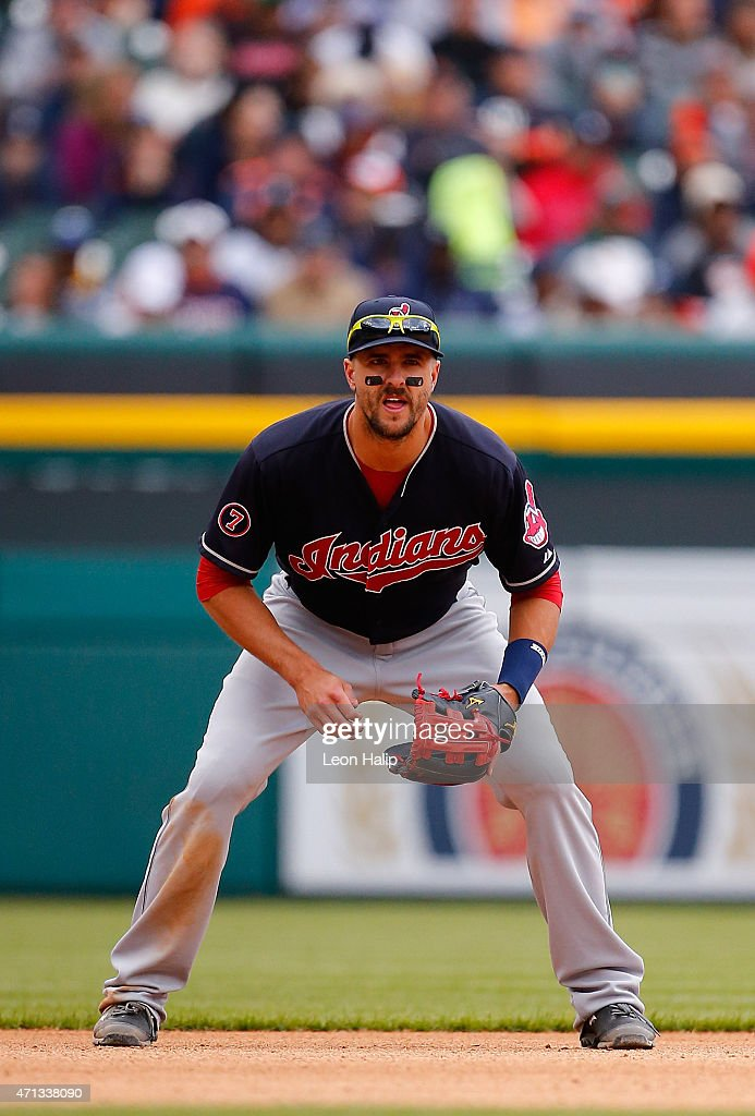 Lonnie Chisenhall of the Cleveland Indians gets ready to field the ground ball during the second inning of the game against the Detroit Tigers on...