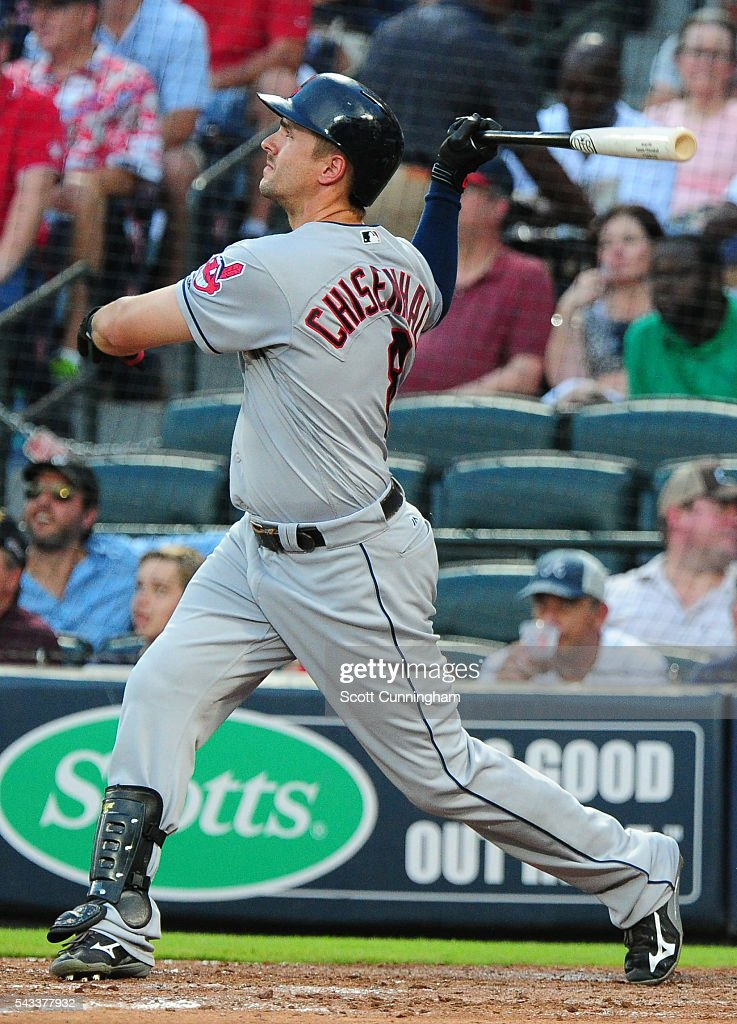 Lonnie Chisenhall of the Cleveland Indians hits a fourth inning threerun home run against the Atlanta Braves at Turner Field on June 27 2016 in...