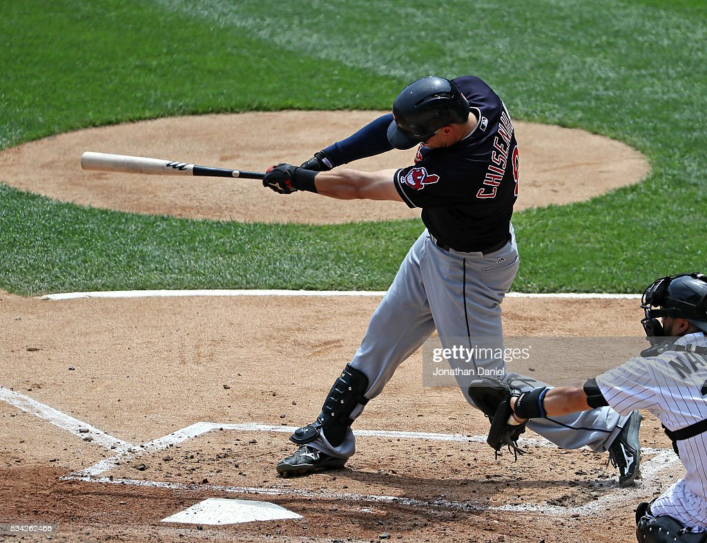 Lonnie Chisenhall #8 of the Cleveland Indians hits a two run triple in the 2nd inning against the Chicago White Sox at U.S. Cellular Field on May 25, 2016 in Chicago, Illinois.