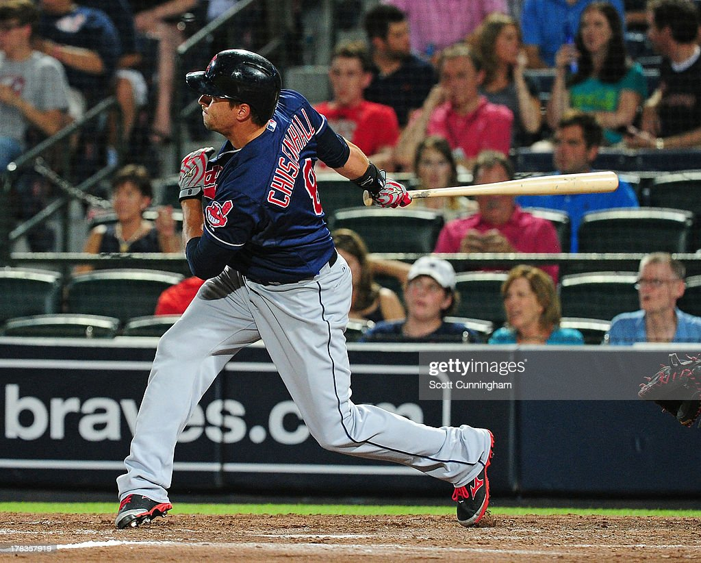 <a gi-track='captionPersonalityLinkClicked' href=/galleries/search?phrase=Lonnie+Chisenhall&family=editorial&specificpeople=6796448 ng-click='$event.stopPropagation()'>Lonnie Chisenhall</a> #8 of the Cleveland Indians hits an eighth inning home run against the Atlanta Braves at Turner Field on August 29, 2013 in Atlanta, Georgia.