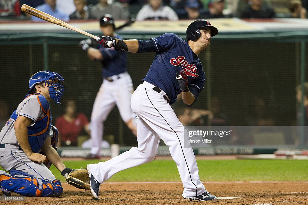 <a gi-track='captionPersonalityLinkClicked' href=/galleries/search?phrase=Lonnie+Chisenhall&family=editorial&specificpeople=6796448 ng-click='$event.stopPropagation()'>Lonnie Chisenhall</a> #8 of the Cleveland Indians hits an RBI double during the sixth inning against the New York Mets at Progressive Field on September 6, 2013 in Cleveland, Ohio.