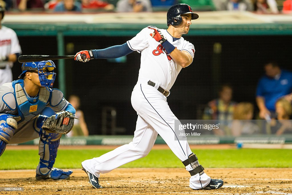 Lonnie Chisenhall of the Cleveland Indians hits an RBI double during the third inning against the Kansas City Royals at Progressive Field on...