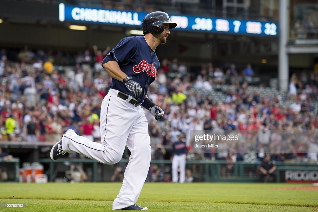Lonnie Chisenhall of the Cleveland Indians rounds the bases after hiting a solo home run during the fourth inning against the Los Angeles Angels of...