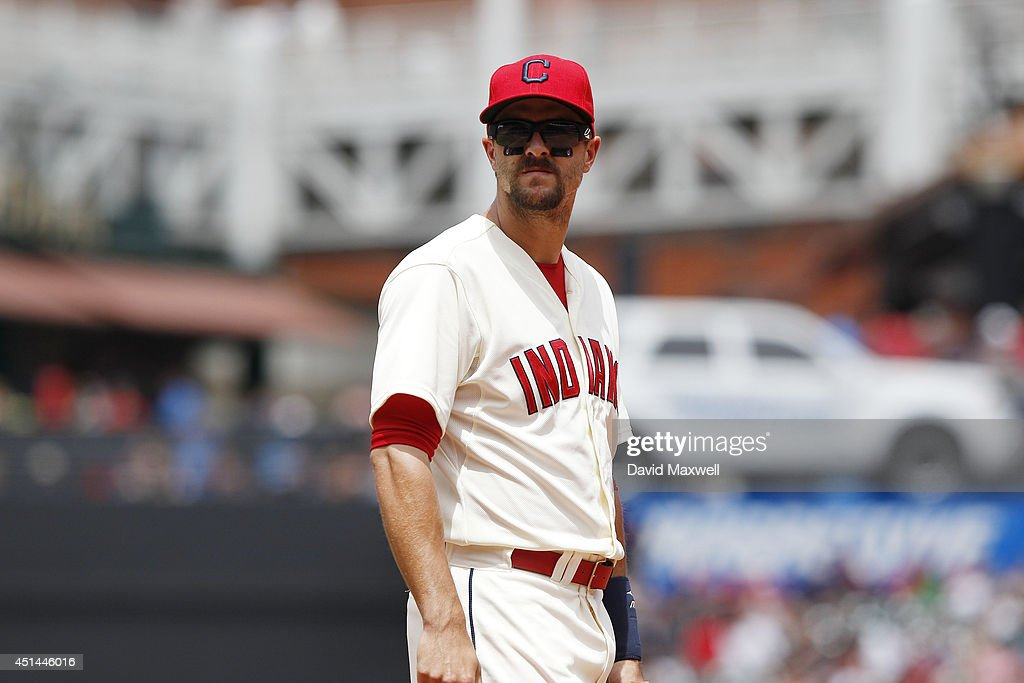 Lonnie Chisenhall of the Cleveland Indians takes his position at third base against the Detroit Tigers during the third inning of their game on June...