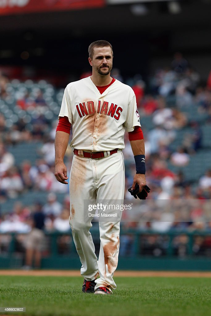 Lonnie Chisenhall of the Cleveland Indians takes the field against the Tampa Bay Rays during the ninth inning of their game on September 28 2014 at...