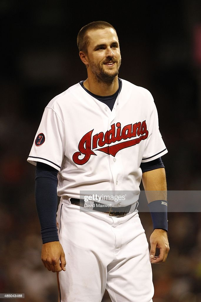 Lonnie Chisenhall of the Cleveland Indians takes the field against the New York Yankees during the sixth inning of their game on August 13 2015 at...