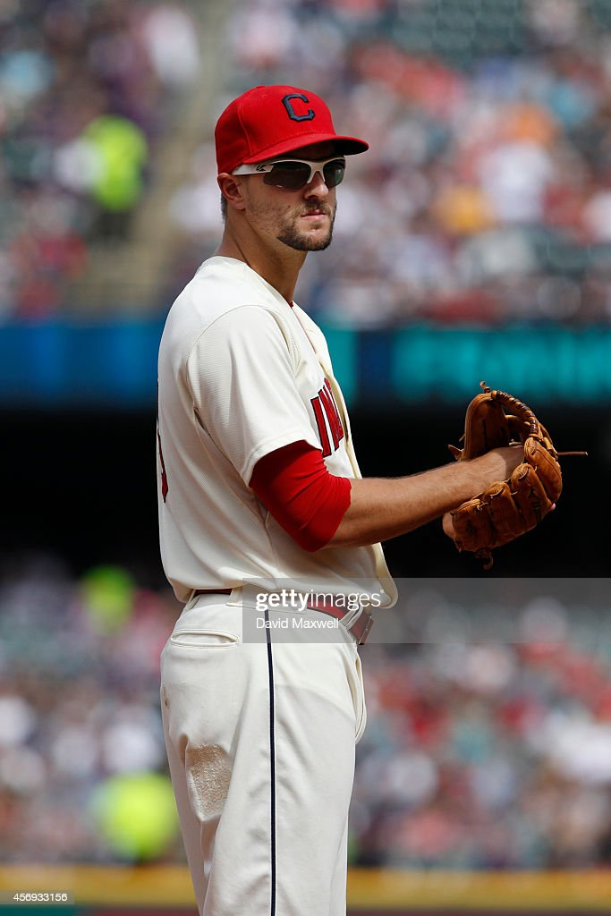 Lonnie Chisenhall of the Cleveland Indians takes the infield against the Tampa Bay Rays during the fifth inning of their game on September 28 2014 at...