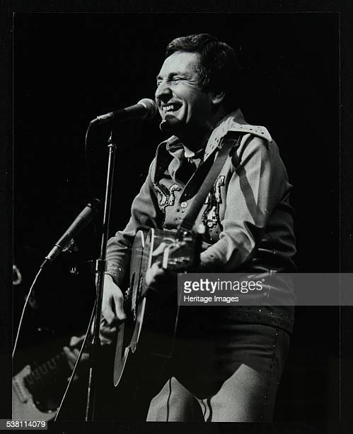 Lonnie Donegan on stage at the Forum Theatre Hatfield Hertfordshire April 1979