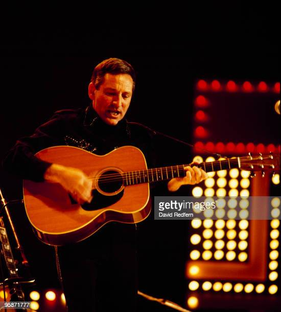 Lonnie Donegan performs on stage at the Country Music Festival held at Wembley Arena London in April 1982