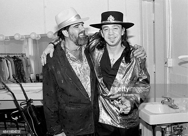 Lonnie Mack and Stevie Ray Vaughan backstage at the Orpheum Theater in Memphis Tennessee on August 26 1986