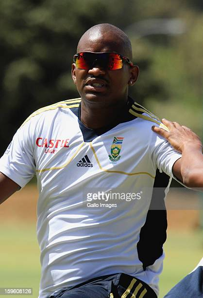 Lonwabo Tsotsobe attends the South African national cricket team nets session and press conference at Claremont Cricket Club on January 17 2013 in...