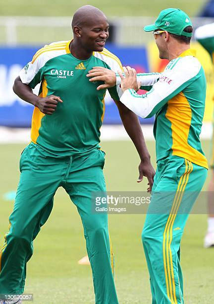 Lonwabo Tsotsobe during a nets session ahead of the 3rd One Day International against Australia at Sahara Stadium Kingsmead on October 27 2011 in...
