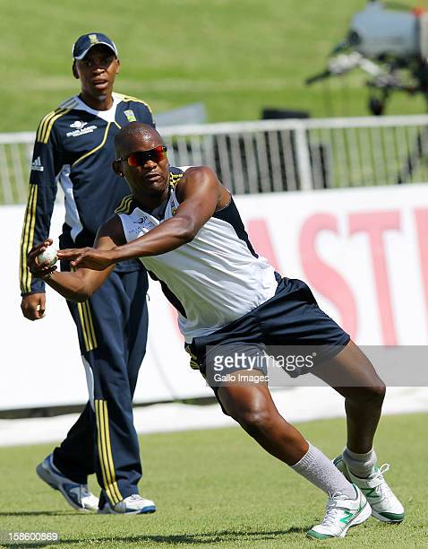 Lonwabo Tsotsobe in action during the South Africa nets session from Sahara Park Kingsmead on December 20 2012 in Durban South Africa