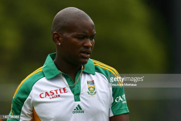 Lonwabo Tsotsobe looks on during a South African team training session at University Oval on March 6 2012 in Dunedin New Zealand