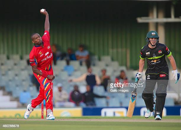 Lonwabo Tsotsobe of bizhub Highveld Lions and Craig Kieswetter of Chevrolet Warriors during the Ram Slam T20 Challenge match between Chevrolet...