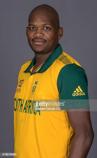 Lonwabo Tsotsobe of South Africa at the headshot session at the Pan Pacific Hotel Dhaka in the lead up to the ICC World Twenty20 Bangladesh 2014 on...