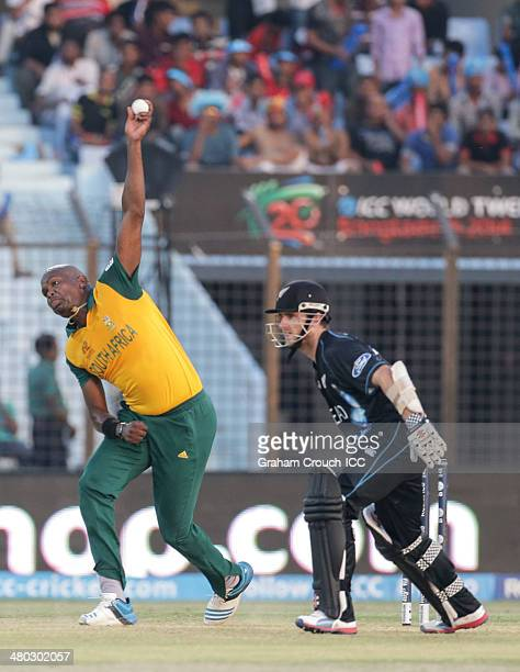 Lonwabo Tsotsobe of South Africa bowling during the New Zealand v South Africa match at the ICC World Twenty20 Bangladesh 2014 played at Zahur Ahmed...