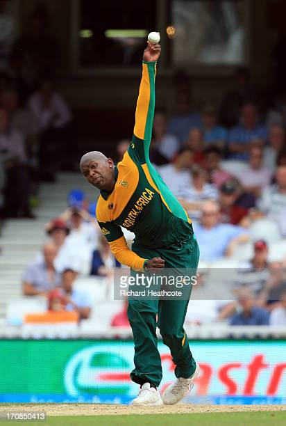 Lonwabo Tsotsobe of South Africa bowls during the ICC Champions Trophy Semi Final match between England and South Africa at The Oval on June 19 2013...