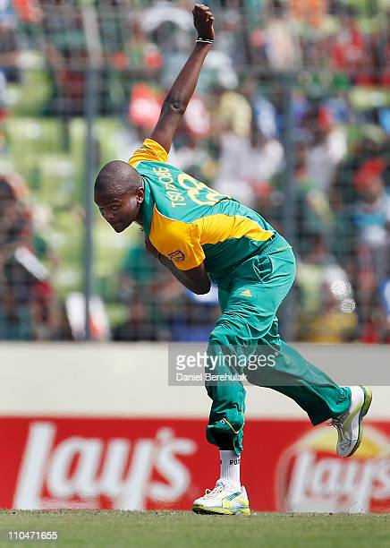 Lonwabo Tsotsobe of South Africa bowls during the ICC World Cup Cricket Group B match between Bangladesh and South Africa at ShereeBangla National...