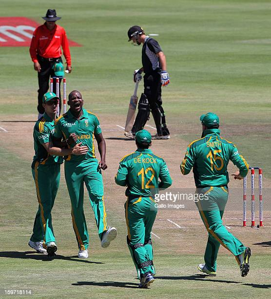 Lonwabo Tsotsobe of South Africa celebrates a wicket during the 1st One Day International match between South Africa and New Zealand at Boland Park...