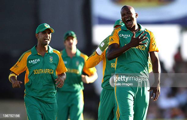 Lonwabo Tsotsobe of South Africa celebrates after claiming the wicket of Dinesh Chandimal of Sri Lanka during the 1st One Day International match...