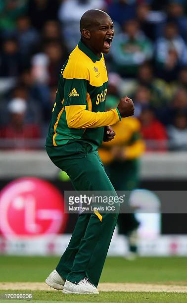 Lonwabo Tsotsobe of South Africa celebrates the wicket of MisbahulHaq of Pakistan after he was caught by Hashim Amla of South Africa during the ICC...