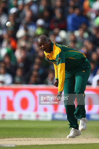 Lonwabo Tsotsobe of South Africa during the ICC Champions Trophy Group B match between Pakistan and South Africa at Edgbaston on June 10 2013 in...