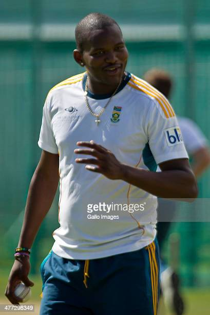 Lonwabo Tsotsobe of South Africa during the South African national cricket team training session and press conference at AXXESS St Georges on March...