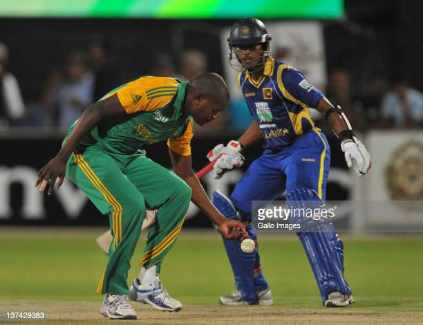 Lonwabo Tsotsobe of South Africa fields off his own bowling during the 4th ODI match between South Africa and Sri Lanka from De Beers Diamond Oval on...