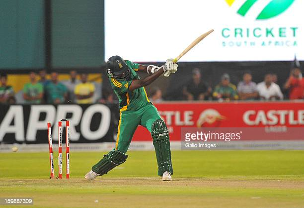 Lonwabo Tsotsobe of South Africa gets bowled during the 2nd One Day International match between South Africa and New Zealand at De Beers Diamond Oval...