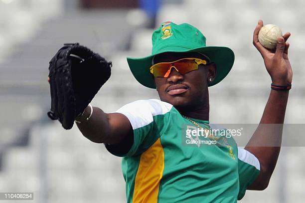 Lonwabo Tsotsobe of South Africa in action during the South African national cricket team nets session at the Outer field SBNCS in Mirpur on March 18...