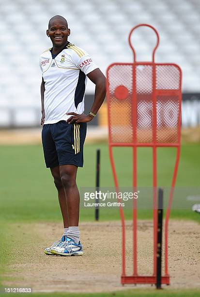Lonwabo Tsotsobe of South Africa practices his short ball during net practice at Trent Bridge on September 4 2012 in Nottingham England