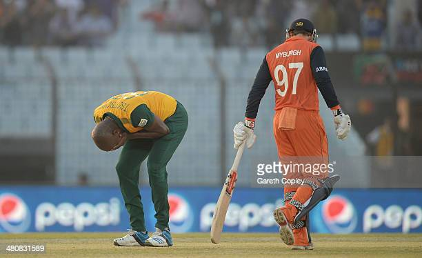 Lonwabo Tsotsobe of South Africa reacts after being hit for six runs by Stephan Myburgh of the Netherlands during the ICC World Twenty20 Bangladesh...