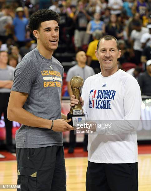 Lonzo Ball of the Los Angeles Lakers accepts the NBA Summer League 2017 Most Valuable Player award from NBA Summer League cofounder and vice...