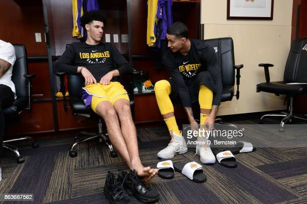 Lonzo Ball and Kyle Kuzma of the Los Angeles Lakers in the locker room before the game against the LA Clippers on October 19 2017 at STAPLES Center...
