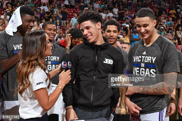 Lonzo Ball and Kyle Kuzma of the Los Angeles Lakers speak to a reporter after the game against the Portland Trailblazers during the 2017 Summer...