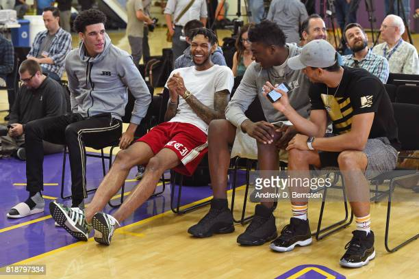 Lonzo Ball Brandon Ingram and Thomas Bryant of the Los Angeles Lakers attend a press conference in El Segundo California at the Toyota Sports Center...