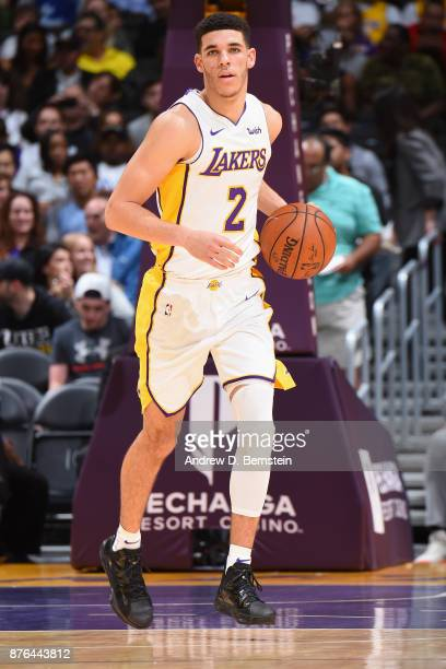Lonzo Ball handles the ball against the Denver Nuggets n November 19 2017 at STAPLES Center in Los Angeles California NOTE TO USER User expressly...