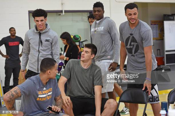 Lonzo Ball Ivica Zubac Larry Nance Jr #7 Kyle Kuzma and Thomas Bryant of the Los Angeles Lakers attend a press conference in El Segundo California at...