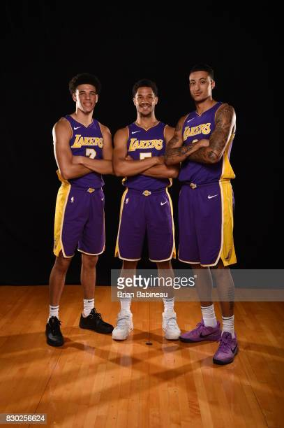 Lonzo Ball Josh Hart and Kyle Kuzma of the Los Angeles Lakers poses for a photo during the 2017 NBA Rookie Photo Shoot at MSG training center on...