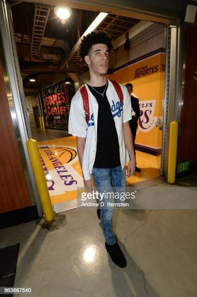 Lonzo Ball of the Los Angeles Lakers arrives before the game against the LA Clippers on October 19 2017 at STAPLES Center in Los Angeles California...