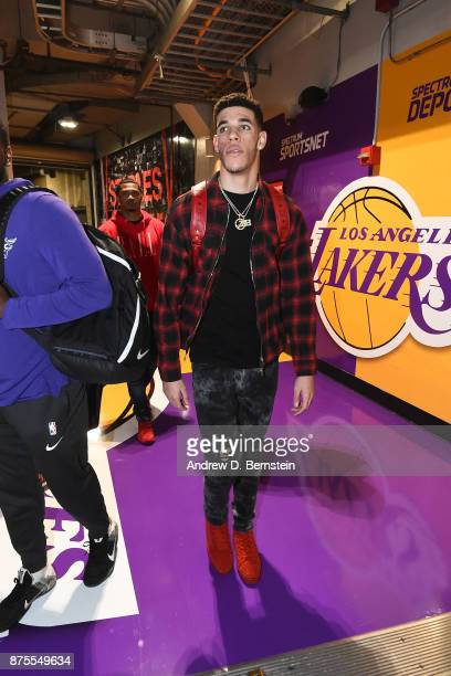 Lonzo Ball of the Los Angeles Lakers arrives before the game against the Phoenix Suns on November 17 2017 at STAPLES Center in Los Angeles California...