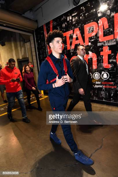 Lonzo Ball of the Los Angeles Lakers arrives to the arena before the game against the Denver Nuggets during a preseason game on October 2 2017 at...