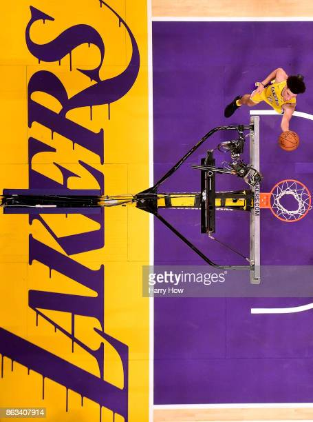 Lonzo Ball of the Los Angeles Lakers attempts a layup during the Los Angeles Lakers home opener against the LA Clippers at Staples Center on October...