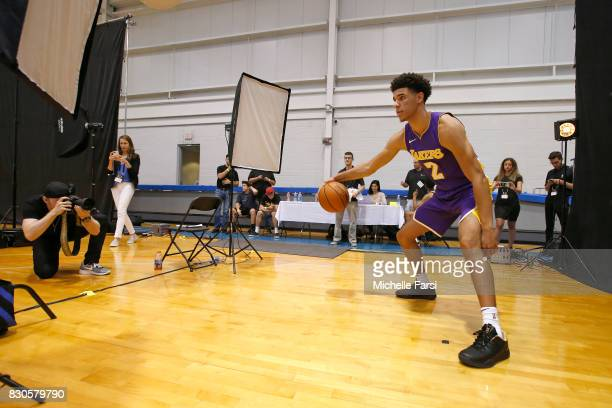Lonzo Ball of the Los Angeles Lakers behind the scenes during the 2017 NBA Rookie Photo Shoot at MSG training center on August 11 2017 in Tarrytown...