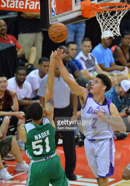 Lonzo Ball of the Los Angeles Lakers blocks a shot from Abdel Nader of the Boston Celtics during the 2017 Summer League at the Thomas Mack Center on...