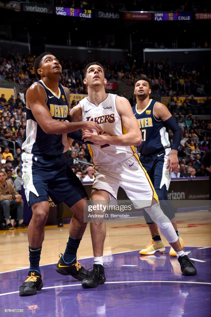 Lonzo Ball #2 of the Los Angeles Lakers boxes out against the Denver Nuggets on November 19, 2017 at STAPLES Center in Los Angeles, California.
