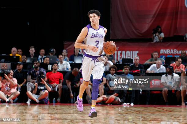 Lonzo Ball of the Los Angeles Lakers brings the ball up the court during the game against the Philadelphia 76ers during the 2017 Las Vegas Summer...