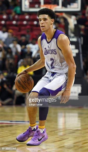 Lonzo Ball of the Los Angeles Lakers brings the ball up the court against the Philadelphia 76ers during the 2017 Summer League at the Thomas Mack...